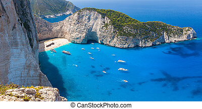 Navagio beach from Shipwreck cliff view in Zakynthos (Zante)...