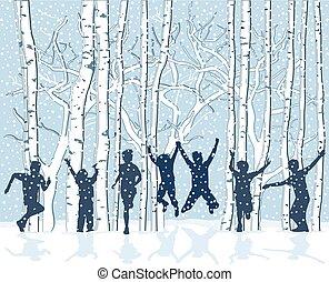 Kids im Schnee.eps - Children in snowy winter landscape are...