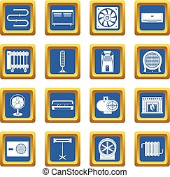 Heating cooling air icons set blue - Heating cooling air...