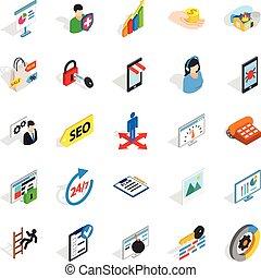 Seo optimization icons set, isometric style