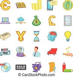 Phishing icons set, cartoon style - Phishing icons set....