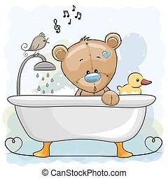 cuarto de baño, oso