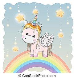 Cute Cartoon Unicorn on the rainbow