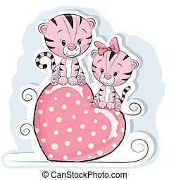 Two Cute Tigers is sitting on a heart