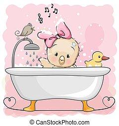 pollo, cuarto de baño