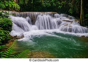 Huai Mae Kamin Waterfall in Kanchanaburi,Thailand