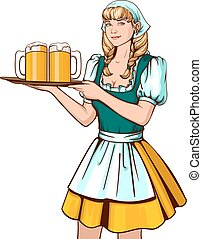 Beautiful young woman waiter holding tray with beer....