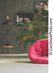 Room with armchair and plant decoration - Room with pink...