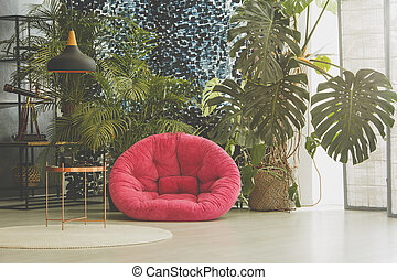 Room with plush armchair - Room with pink plush armchair,...