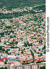 Tbilisi Georgia. Aerial View Of Residential Area. Buildings With Red And White Roofs