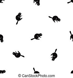 Canadian beaver pattern seamless black - Canadian beaver...