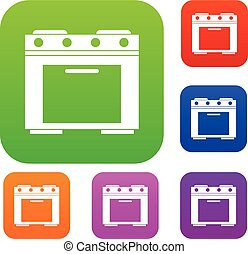 Gas stove set collection - Gas stove set icon in different...