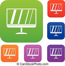 TV set collection - TV set icon in different colors isolated...