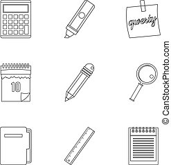 Stationery icon set, outline style