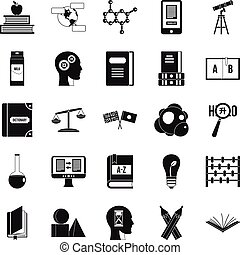 Answers on questions icons set, simple style - Answers on...