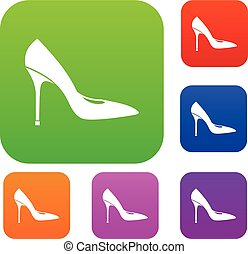Women shoe with high heels set collection