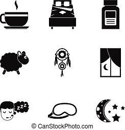 Time to sleep icon set, simple style