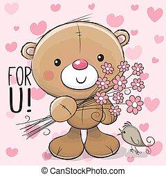 Cute Cartoon Teddy Bear with a flower