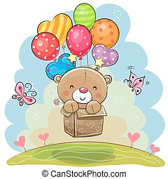 Cute Teddy Bear with balloons - Cute Teddy Bear in the box...