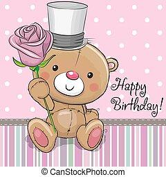 Cute Teddy Bear with a flower
