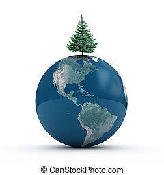 Earth with fir tree isolated on white