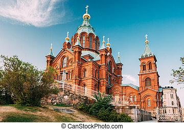 Helsinki, Finland. Uspenski Orthodox Cathedral Upon Hillside...