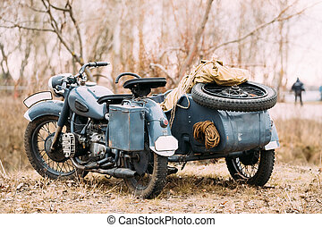 Rarity Three-Wheeled Motorcycle With Sidecar Of German...