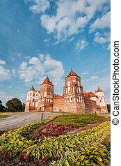 mir, verano, Belarus, soleado, día, Complejo, feudalismo,...