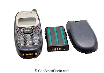Old mobile telephon - Obsolete mobile telephon, battery and...