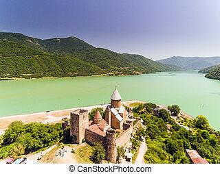 georgia., lac, église, château, ananuri, banque