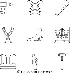 Orthopedic surgery icon set, outline style - Orthopedic...