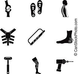 Traumatology and orthopedic icon set, simple style -...