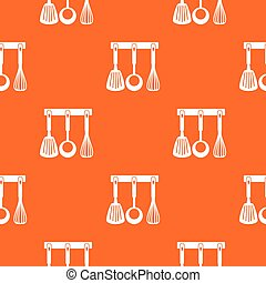 Spatula, ladle and whisk, kitchen tools pattern seamless