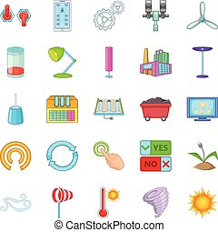 Earth energy icons set, cartoon style
