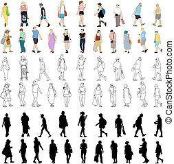Summer People Shopping Large Set Outlines