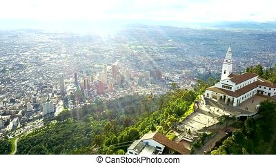 Aerial Footage of Church and City in Bogota, Colombia -...
