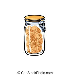 vector glass jar with swing top lid sketch cartoon isolated...