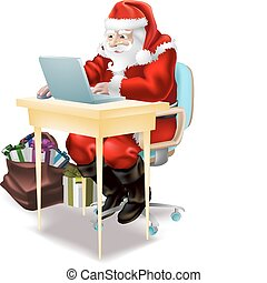 Santa shops on-line - Illustration of father christmas...