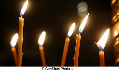 candles standing in the Golden candlestick - burning yellow...