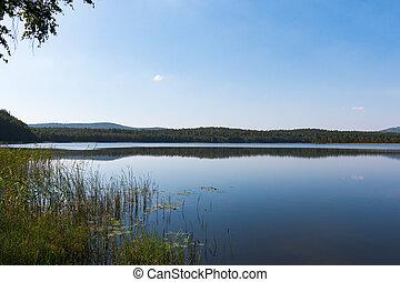 scenic view  of mountain lake