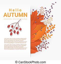 Hello autumn with colorful leaves and fruits background 2 -...