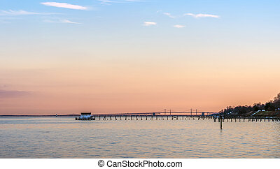 Sunset on the Chesapeake Bay with Bay Bridge