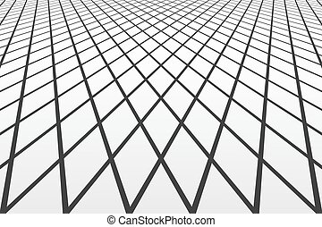 Diminishing perspective view. Lines and diamonds pattern....