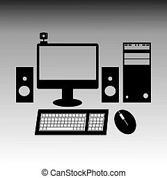 Vector black and white style illustration of desktop computer