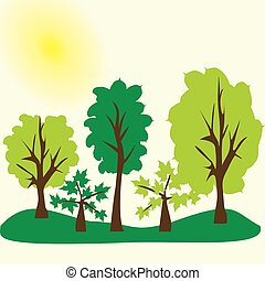 Vector trees in the forest. Eco landscape