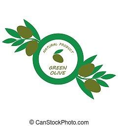 Logo, label, signs with olives branch illustration