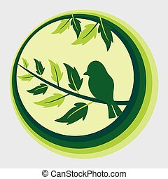 Concept nature and animals idea. Bird on tree branch