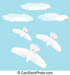 Flock of birds in flight. Clouds in the background