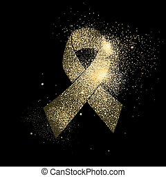 Gold glitter Cancer ribbon art concept symbol - Awareness...