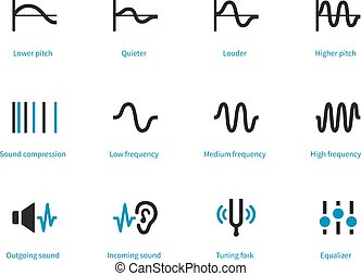 Music and audio types duotone icons on white background....